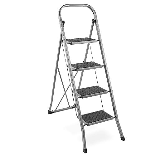 VonHaus Steel 4 Step Ladder Folding Portable Stool with 330lbs Capacity and Anti-Slip Feet - Lightweight and Sturdy - Ladder Steel