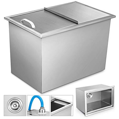 VEVOR Drop-in Ice Chest with Cover Stainless Steel Over/Under Height Single Basin Insulated Wall Drop in Cooler 27