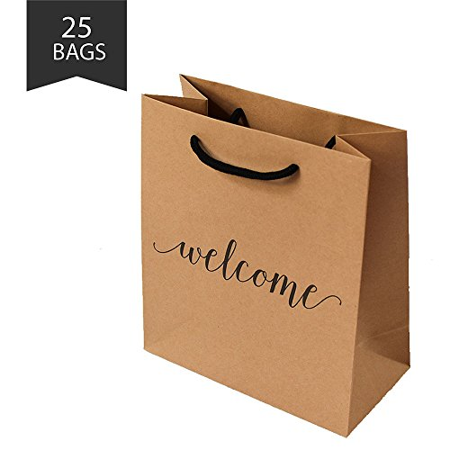 Welcome Gift Bag with Hang Tag - Embossed Welcome Message | Set of 25 Kraft Paper | Perfect for hotel weekend wedding guests bridesmaid groomsmen gift bridal baby shower favor