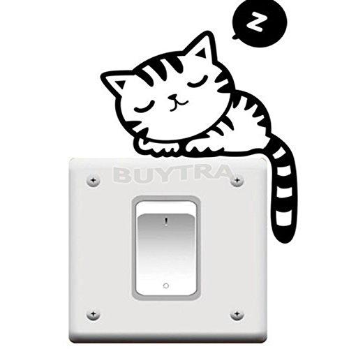 personalizedco Cute Cat Nap Hundelichtschalter Lustiger Wandtattoo Vinyl-Aufkleber Schwarz