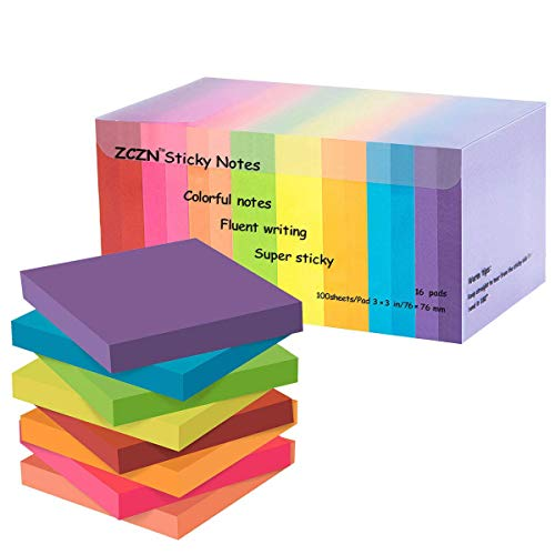 - zczn 8 Bright Color Sticky Notes, 3 x 3 in, 16 Pads/Pack 100 Sheets/Pad Self-Sticky Note