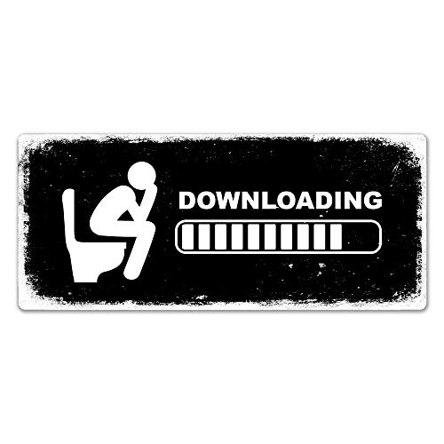 Downloading - Toilet Metal Wall Sign Plaque Art Poop Mens Womens Funny Aluminum Metal Sign 8