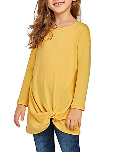 Lookbook Store Girls Drop Shoulder Sleeve Boat Neck T Shirt Knot Side Tunic Tops Yellow Size S -