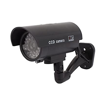 eDealMax de vigilancia de seguridad falso muñeco Cámara luz roja intermitente LED al aire Libre de