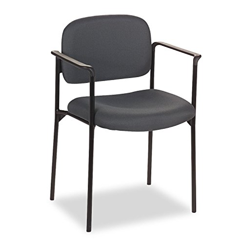 Basyx VL616VA19 VL616 Series Stacking Guest Chair with Arms, Charcoal Fabric by Janitorial Supplies