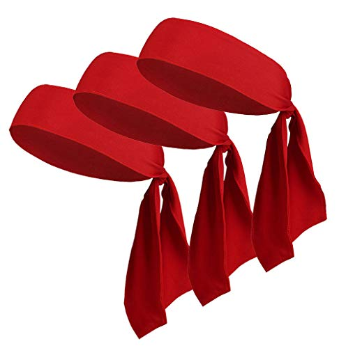 LIMOSUNO Dry Fit Head Ties for Women Men Tie Back Headbands Bulk Performance Elastic Moisture Wicking Non Slip for Running Basketball Tennis Yogo Pirates Workout (Red 3pcs) -