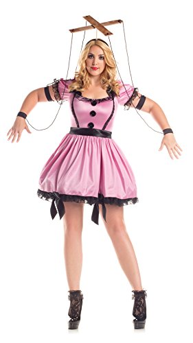 The Pink Satin Ladies Plus Costumes (Party King Women's Plus Size Marionette Costume, Pink, 3X)