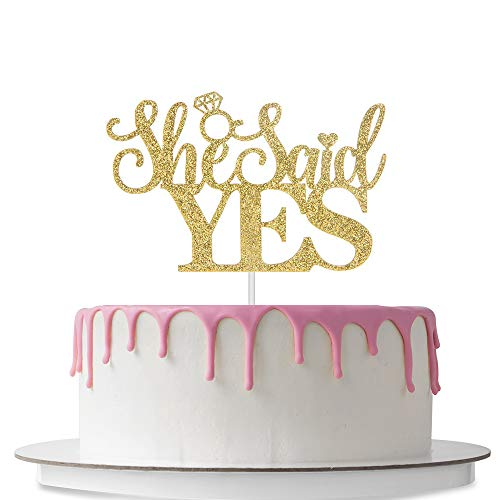 She Said Yes Cake Topper, Bridal Shower Cake Decorations, Wedding Engagement Bachelor Party Décor Supplies, Double Sided Gold Glitter CD-SS (Bachelor Cake Topper)