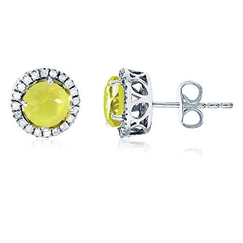 - 14K White Gold 6mm Round Lemon Quartz & 0.2 CTTW Diamond Halo Stud Earring