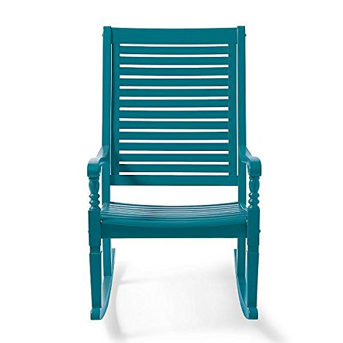(Traditional Bayside Caribbean Blue Hardwood Rocking Chair Porch Rocker Outdoor Patio Furniture)