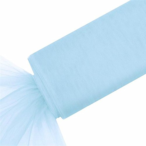 "BalsaCircle 54"" x 120 feet Extra Large Wedding Tulle Bolt Party Supplies - Light Blue"