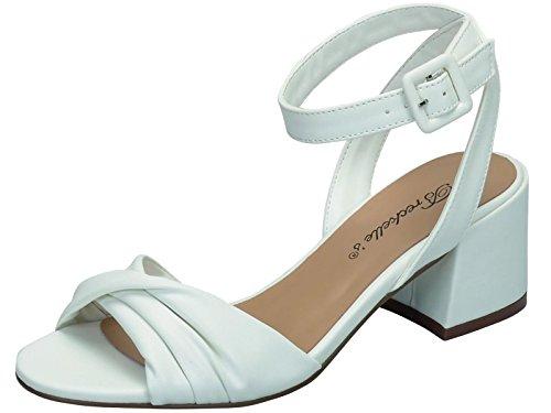 Breckelles Womens Strappy Twist Front Open Toe Block Sandalo Tacco Bianco
