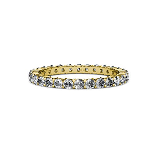 Diamond 2.4mm Shared Prong Eternity Band 1.20 to 1.40 Carat tw 14K Yellow Gold.size 4.25 (Diamond Prong Shared Band Eternity)