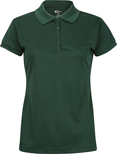 Premium Juniors High Moisture Wicking Polo T Shirts, Hunter Green, Medium