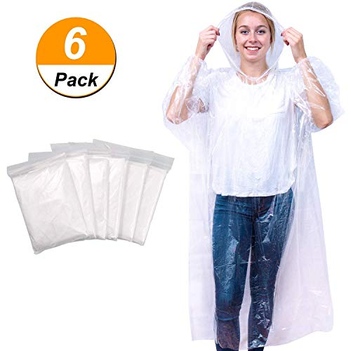 TAIKUU Rain Ponchos for Adults with Drawstring Hood and Elastic Sleeve Ends/Portable and Thicker Emergency rain Poncho Family Pack/Disposable Raincoat fit Men and Women/Clear (6PACK)]()