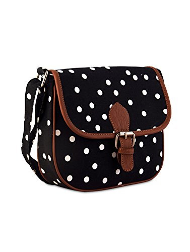 Ayeshu Girls Black Canvas sling Bag