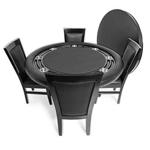 41l%2BPPonlNL - BBO-Poker-Nighthawk-Poker-Table-for-8-Players-with-Black-Felt-Playing-Surface-55-Inch-Round-Includes-Matching-Dining-Top-with-4-Dining-Chairs