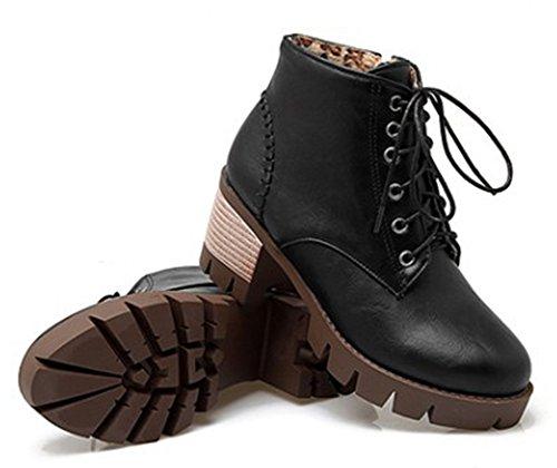 Aisun Kvinna Vintage Rund Tå Klack Enda Dragkedja Klänning Plattform Boots Snörning Blocket Mid Häl Tossor Skor Svarta