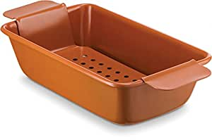 (24cm x 24cm x 6.6cm Loaf Pan With Removable Tray) - Ceramic Coated Loaf Pan 24cm x 6.6cm With Removable Tray - Premium Nonstick, Even Baking, Dishwasher and Oven Safe - PTFE/PFOA Free - Red Cookware and Bakeware by Bovado USA