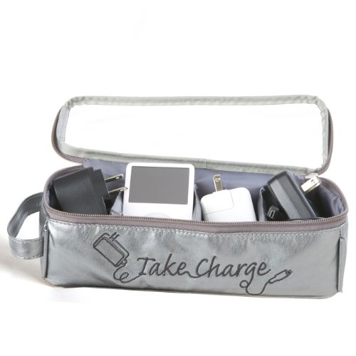 Price comparison product image Miamica Electronics and Charger Organizer Large Take Charge, Silver, One Size