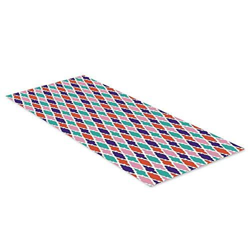 C COABALLA Ikat Decor Waterproof Floor Sticker,Colorful Mosaic Tiles Oriental Asian Islamic Ikat Indonesian Patterns Motifs Decorative Home for Kitchen Living Room,35.4