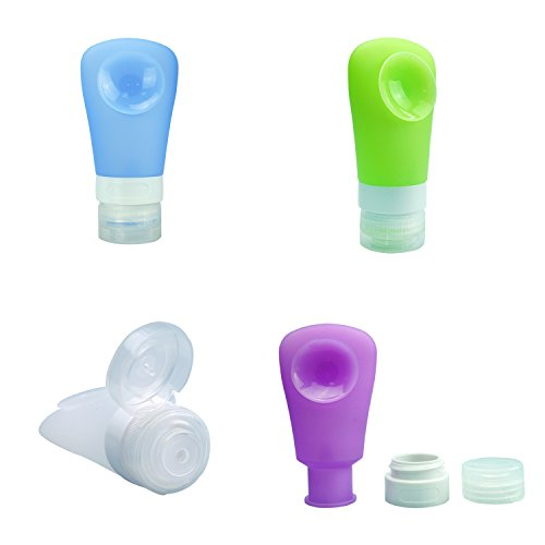 ANHONG Portable Leakproof Travel Bottle Suit, [Suction Cup] BPA Free Silicone Rubber Gel Squeezeable Refillable Carryon Toiletries Cosmetic Make up Travelling Storage Case, 2 Ounces, Pack of 4