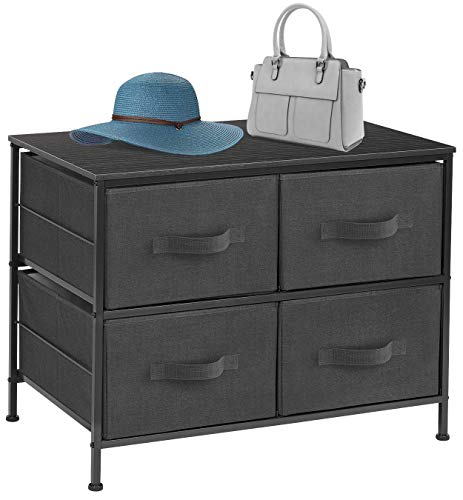 Sorbus Dresser with 4 Drawers – Furniture Storage Tower Unit for Bedroom, Hallway, Closet, Office Organization – Steel Frame, Wood Top, Easy Pull Fabric Bins (Black/Charcoal)