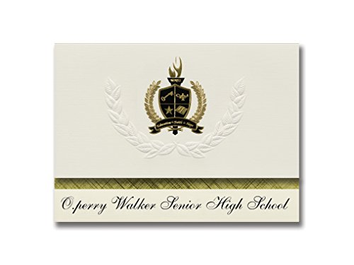 Signature Announcements O.perry Walker Senior High School (New Orleans, LA) Graduation Announcements, Presidential Basic Pack 25 with Gold & Black Metallic Foil seal (O Perry Walker High School New Orleans)