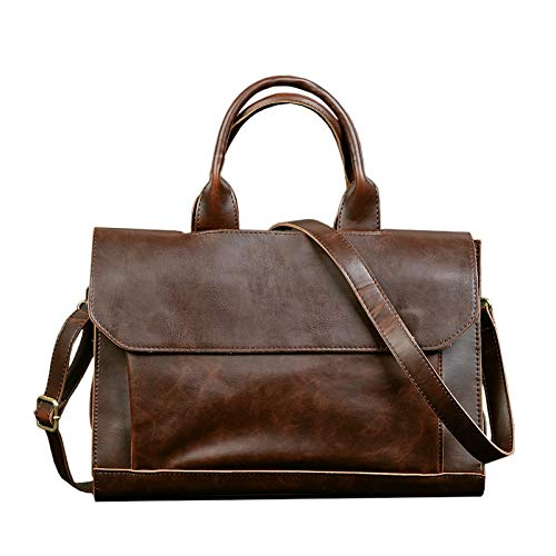 Fasmodel - ETONWEAG Vintage Briefcases Men Messenger Bags Brown Luxury Business Briefcase Document Lawyer Laptop Bag from Fasmodel