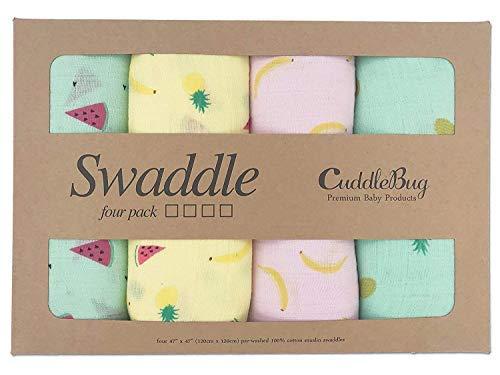 (Muslin Swaddle Blankets by CuddleBug - Tutti Frutti Color Print - 4 Pack Baby Blanket for Newborns - Swaddle Blanket, Swaddle Wrap, Muslin Swaddle and Receiving Blankets, Boy or)