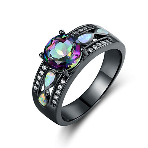 Barzel Black Rhodium Plated Created Topaz & Created Fire Opal Engagement Ring (9) ()