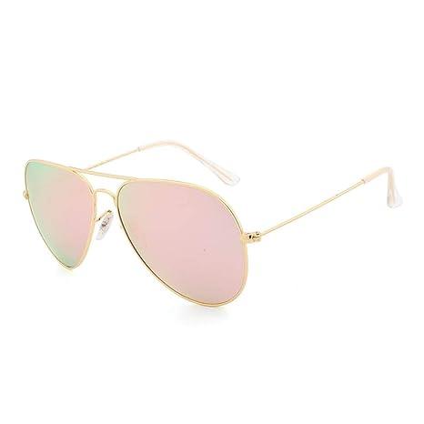 ESLLYY Gafas de sol de espejo plano de metal for mujer Gafas ...