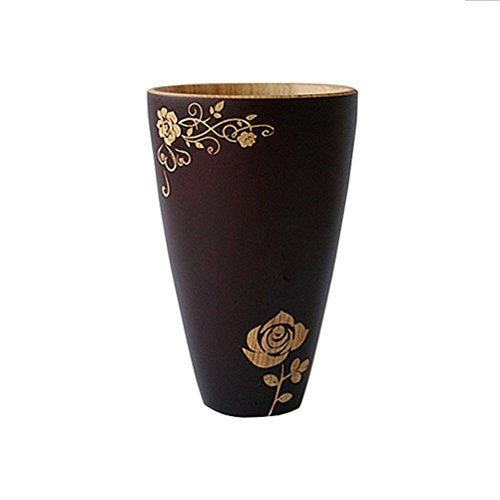 New Chinese-Style Rose Carving Handmade Wood Coffee Mug Tea Cup Home Decor Gift (style2-brown&natural)