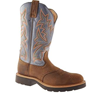 ab30d7eec38 Twisted X Men's Denim Blue Cowboy Pull-On Work Boot Soft Round Toe