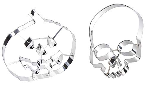 Halloween Large Cookie Cutter Set - 2-Pack Giant Stainless Steel Biscuit Cutters in Skull and Pumpkin Design, For Baking, Molding, Fondant Stamper -