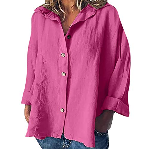 Women's Comfy Cotton Linen Casual Solid Long Sleeve T-Shirt Loose Blouse Button Tops Hot Pink (Take Off Your Blouse And Your Underpants)