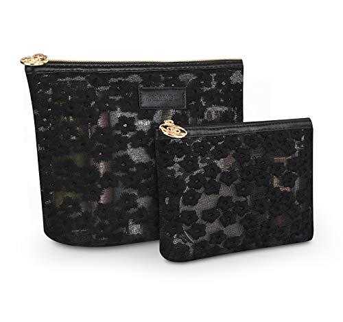 Lace Makeup Bag - Zakaco Makeup Bag for Women,Small Cosmetic Bag Pouch Purse Handbag Organizer with Zipper (Black)