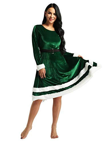 Alvivi Women's Ladies Long Sleeves Mrs Santa Claus Costume Elf Christmas Holiday Fancy Dress Outfit Green Large