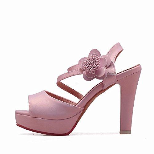 Mee Shoes Women's Sweet High Heel Flower Platform Velcro Sandals Shoes Pink IULxKAbxK