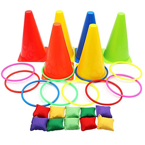 Aizhuang 3 in 1 Ring Toss Game Carnival Combo Set Soft Traffic Cone Bean Bags with Plastic Multicolor Throwing Circle Activity Rings for Kids Outdoor Indoor Speed and Agility Practice Games ()