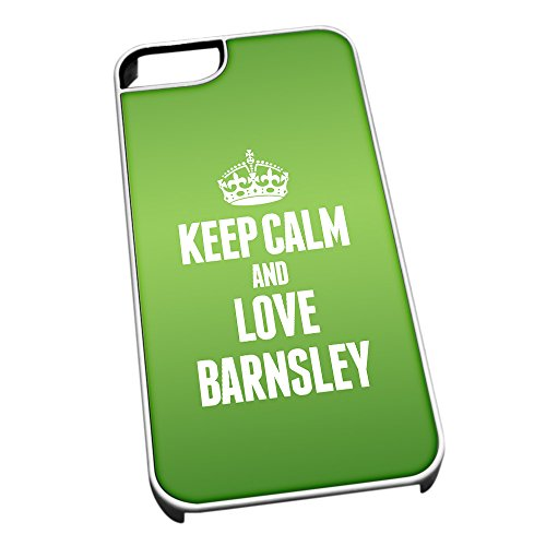 Bianco per iPhone 5/5S 0043 Verde Keep Calm And Love Barnsley