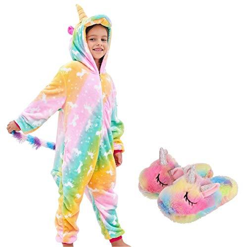 Girls Unicorn Pajamas Onesie with Unicorn Slippers (Rainbow Unicorns, 7-8 Years)