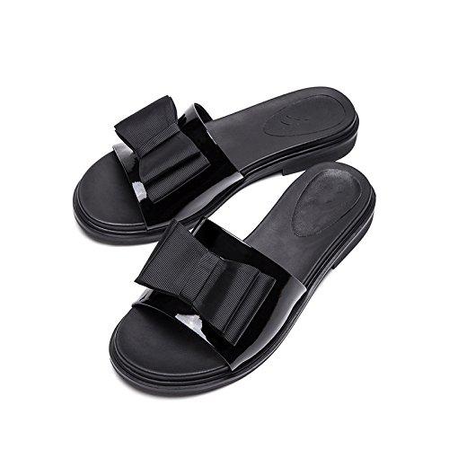 Hæle Dhg Sko Lave Mode Høje Farve Sommer Sort Flad Spids Søde 38 Sandaler Hæle Kvinder Casual Solid UHrgqU6