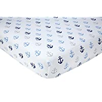 Little Love by NoJo Separates Collection Anchors Printed Crib Sheet, Navy, 52...