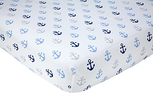 Little Love by NoJo Separates Collection Anchors Printed Crib Sheet, Navy, 52