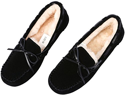 Cowhide Slip Fur lite Loafer Wool Flat Indoor Slippers Black U Moccasin Women Women's on Suede Casual Slipper amp;Outdoor for EzqPPTnx