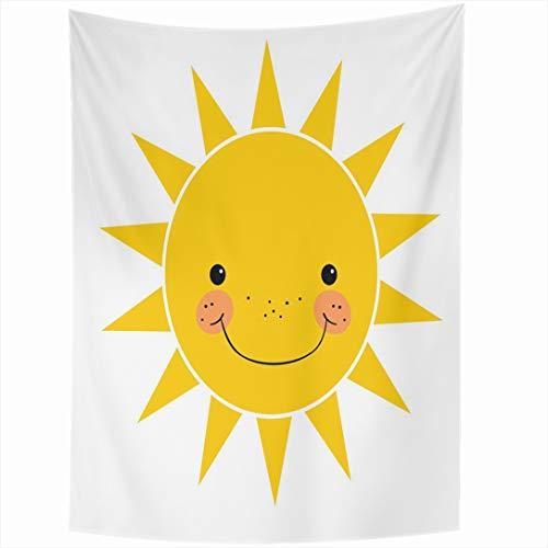 - Ahawoso Tapestry 60x90 Inch Shine Yellow Cute Smiling Sun White Sunshine Climate Smile Energy Happy Solar Design Morning Wall Hanging Home Decor for Living Room Bedroom Dorm
