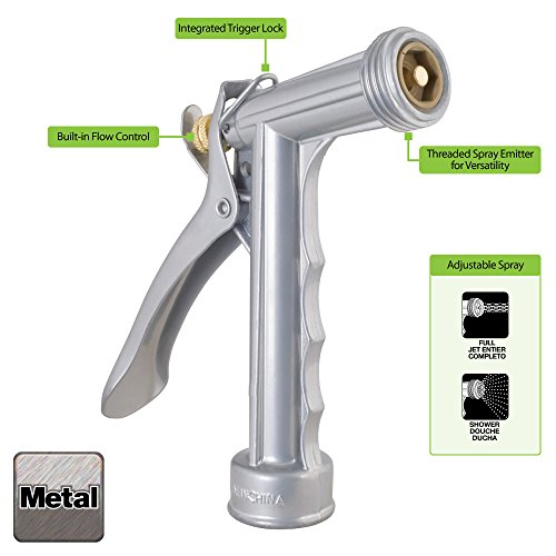 Heavy Duty Metal Garden Hose Nozzle Combo; 1 Adjustable Sprayer Nozzle for Cleaning and Car Washing + 1 5-Pattern Spray Nozzle for Garden Watering