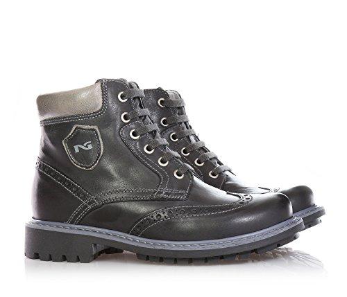 NERO GIARDINI - Graue Stiefeletten mit Schnürsenkel, aus Leder, seitlich ein Reißverschluss, Jungen