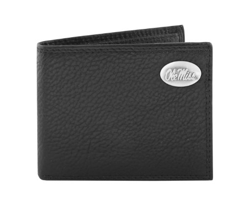 NCAA Mississippi Old Miss Rebels Zep-Pro  Pebble Grain Leather Bifold Concho Wallet, Black